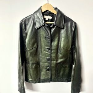 J Crew luscious olive metallic leather fitted